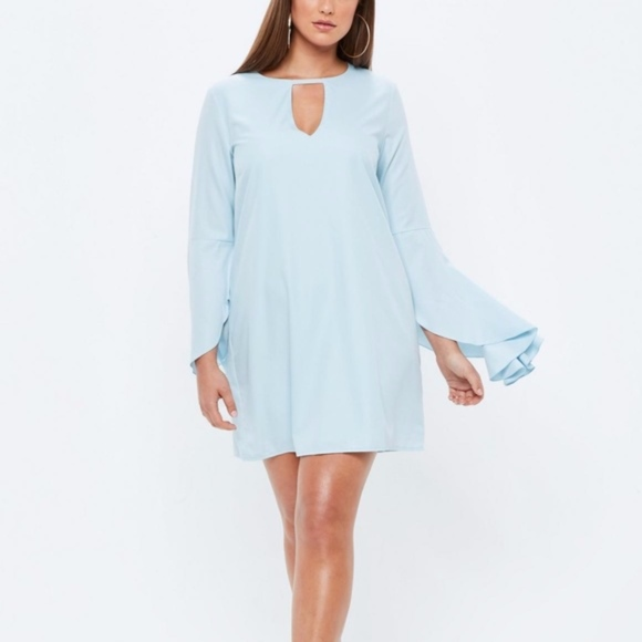 Plus Size Baby Blue Frill Sleeve Bar Detail Dress NWT